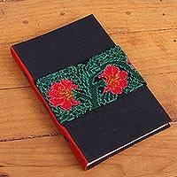 Cotton journal, 'Ocosingo Beauty' - Handcrafted Floral Cotton Journal from Mexico