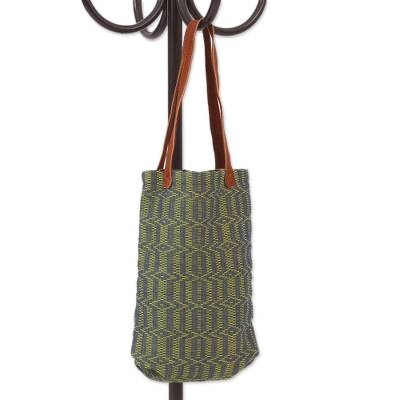 Blue and Green Cotton Tote Handbag with Leather Straps