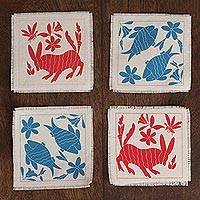 Cotton coasters, 'Otomi Animals' (set of 4) - Animal-Themed Cotton Coasters in Red and Blue (Set of 4)