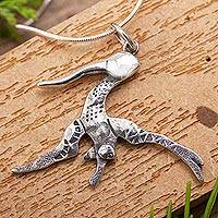 Sterling silver pendant necklace, 'Hummingbird Flying Free' - Gliding Hummingbird Sterling Silver Pendant Necklace