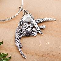 Sterling silver pendant necklace, 'Suspended Hummingbird' - Hovering Hummingbird Sterling Silver Pendant Necklace
