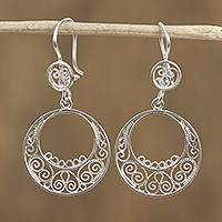 Sterling silver filigree dangle earrings, 'Eclipse Spirals' - Spiral Motif Sterling Silver Filigree Dangle Earrings