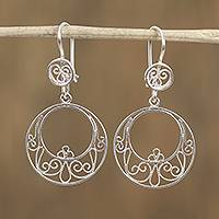Sterling silver filigree dangle earrings, 'Lovely Eclipse' - Circular Mexican Sterling Silver Filigree Dangle Earrings