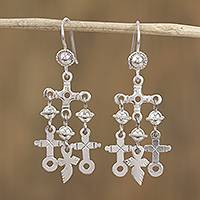 Sterling silver chandelier earrings, 'Crosses and Swords' - Sterling Silver Cross Motif Chandelier Earrings from Mexico