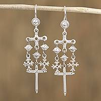 Sterling silver chandelier earrings, 'Warsaw Cross' - Sterling Silver Chandelier Cross Earrings from Mexico