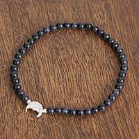 Agate beaded stretch bracelet, 'Moon in the Stars' - Deep Blue Agate with Sterling Silver Moon Pendant Bracelet