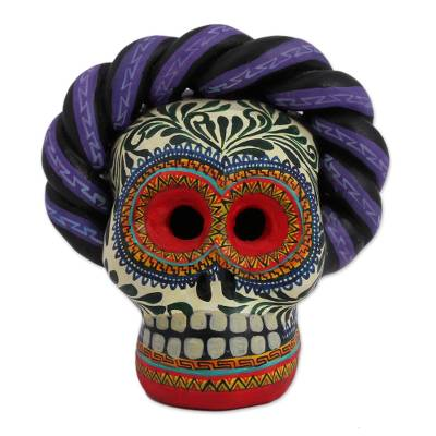 Hand-Painted Ceramic Frida Skull Figurine from Mexico, 'Frida Skull'
