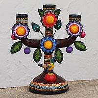 Ceramic candelabra, 'Colorful Floral World' - Colorful Floral Ceramic Candelabra from Mexico