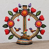 Ceramic candle holder, 'Loving Arch' - Heart and Flower Motif Ceramic Candelabra from Mexico