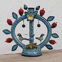 Ceramic candle holder, 'Pepper Arch' - Pepper and Bird Motif Ceramic Candle Holder from Mexico