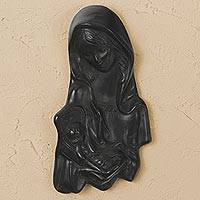Ceramic wall sculpture, 'Madonna' - Barro Negro Ceramic Mary and Jesus Wall Sculpture