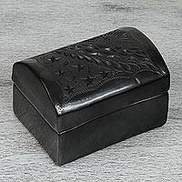 Ceramic decorative box, 'Barro Negro Night' - Star Motif Barro Negro Ceramic Decorative Box from Mexico
