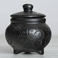 Ceramic decorative jar, 'Barro Negro Homestead' - Floral Barro Negro Ceramic Decorative Jar from Mexico