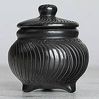 Ceramic decorative jar, 'Barro Negro Boomerangs' - Handmade Barro Negro Ceramic Decorative Jar from Mexico