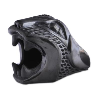 Barro Negro Ceramic Jaguar Mask from Mexico