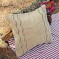 Wool cushion cover, 'Beige Zigzags' - Handwoven Wool Cushion Cover in Beige from Mexico