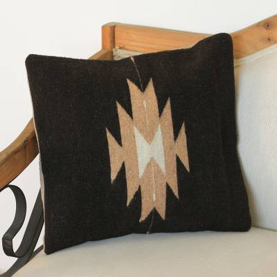 Zapotec wool cushion cover, 'Espresso Geometry' - Geometric Wool Cushion Cover in Espresso from Mexico