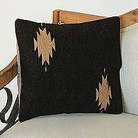 Zapotec wool cushion cover, 'Espresso Diamonds' - Handwoven Wool Cushion Cover in Espresso from Mexico