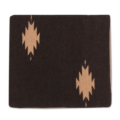 Zapotec wool cushion cover, 'Espresso Diamonds' - Handwoven Wool Cushion Cover in Espresso from Mexico
