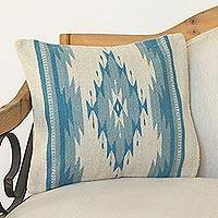 Wool cushion cover, 'Blue Rhombus' - Wool Cushion Cover with Blue Diamond Motifs from Mexico