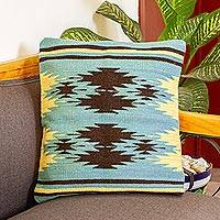 Zapotec wool cushion cover, 'Sea Green Geometry' - Handwoven Geometric Wool Cushion Cover in Sea Green