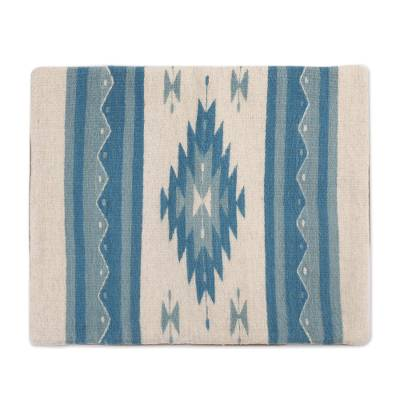 Zapotec wool cushion cover, 'Blue Diamonds' - Wool Cushion Cover with Blue Diamond Motifs from Mexico