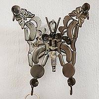 Upcycled metal auto part wall sculpture, 'Beautiful Wingspan' - Upcycled Auto Part Butterfly Wall Sculpture from Mexico