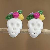 Porcelain button earrings, 'Crown of Roses' - White Skull Pink Rose Crown Cold Porcelain Button Earrings