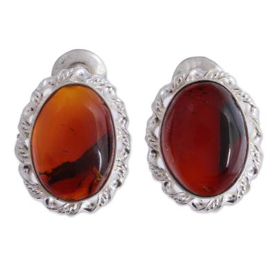 Handcrafted Oval Amber and Sterling Silver Drop Earrings