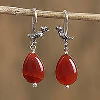 Carnelian dangle earrings, 'Red-Orange Canary' - Carnelian Canary Dangle Earrings from Mexico
