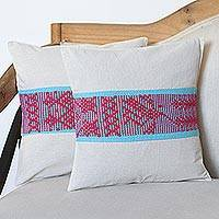 Cotton cushion covers, 'Take Flight' (pair) - Bird Motif Handwoven Cotton Cushion Covers (Pair)