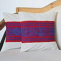 Cotton cushion covers, 'Flying Leap' (pair) - Deer Motif Handwoven Cotton Cushion Covers (Pair)