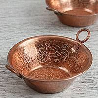 Decorative copper bowls, 'Shining Flowers' (pair) - Floral Copper Decorative Bowls from Mexico (Pair)
