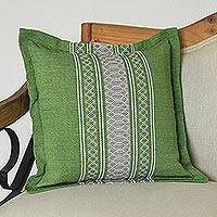 Cotton cushion cover, 'Rain of Lime' - Handwoven Cotton Cushion Cover in Lime from Mexico