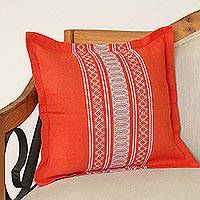 Cotton cushion cover, 'Sweet Tangerine' - Handwoven Cotton Cushion Cover in Tangerine from Mexico