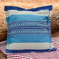 Cotton cushion cover, 'Blue Desire' - Handwoven Cotton Cushion Cover in Blue from Mexico