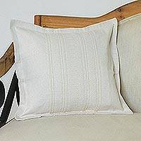 Zapotec cotton cushion cover, 'Eggshell Bliss' - Handwoven Cotton Cushion Cover in Eggshell from Mexico
