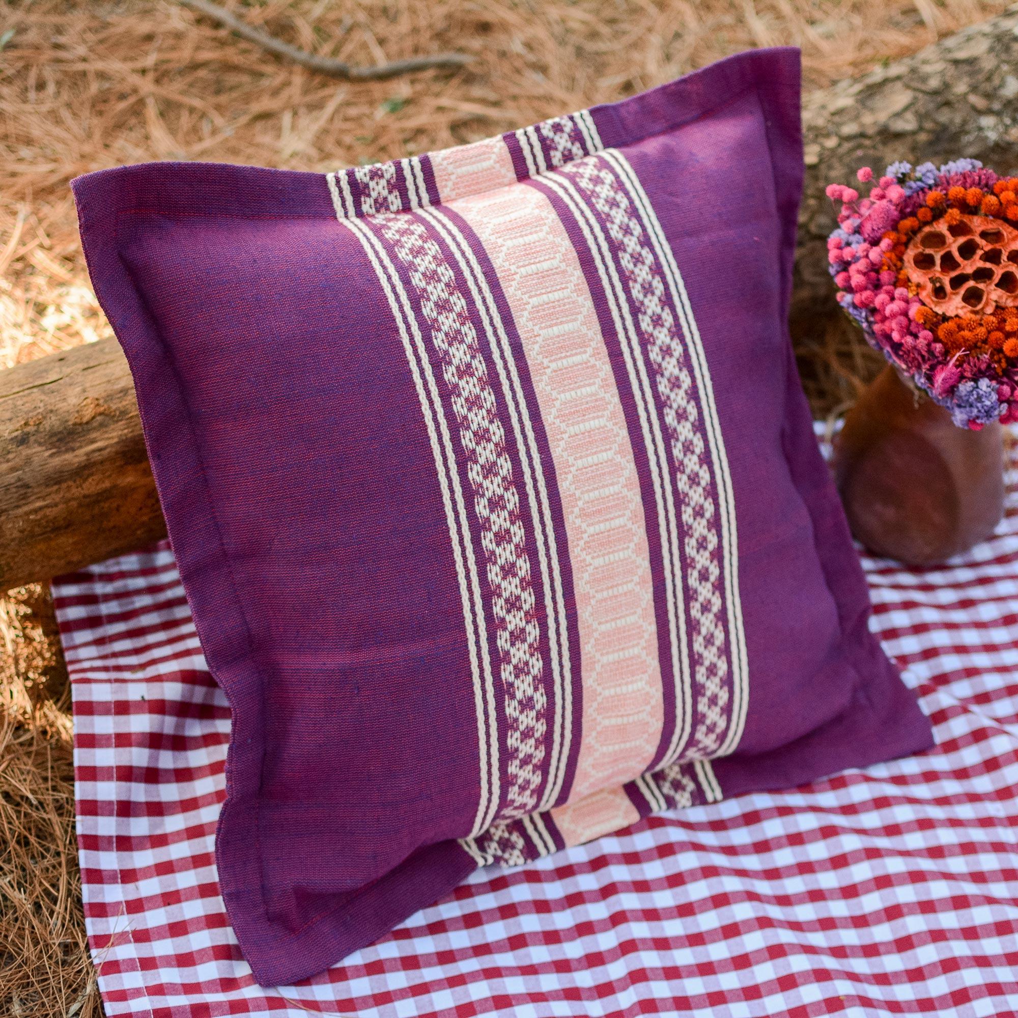 NOVICA 338593 Delicious Boysenberry Cotton Cushion Cover Purple
