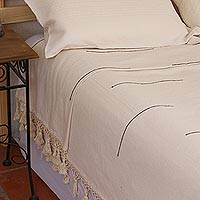 Cotton bedspread, 'Antique White Comfort' (king) - Handwoven Cotton Bedspread in Antique White (King)