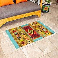 Wool area rug, 'Zapotec World' (2x3)