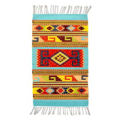 Wool area rug, 'Zapotec World' (2x3) - Zapotec Geometric Wool Area Rug from Mexico (2x3)