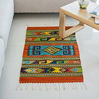 Wool area rug, 'Greca Tradition' (2x3.5)