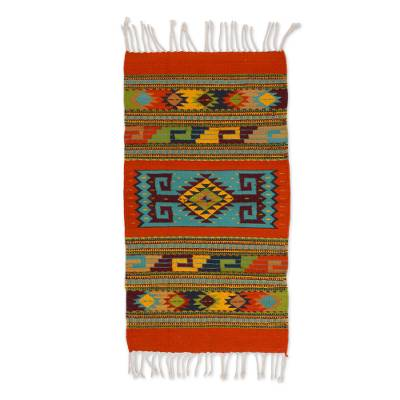 Geometric Zapotec Wool Area Rug from Mexico (2x3.5)