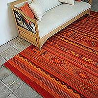 Wool area rug, 'Fiery Geometry' (6.25x9.5) - Geometric Wool Area Rug in Red and Orange (6.25x9.5)