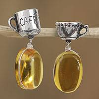 Amber dangle earrings, 'Friendly Drinks' - Coffee and Tea-Themed Amber Dangle Earrings from Mexico
