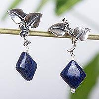 Lapis lazuli dangle earrings, 'Pretty Leaves' - Leaf Motif Lapis Lazuli Dangle Earrings from Mexico