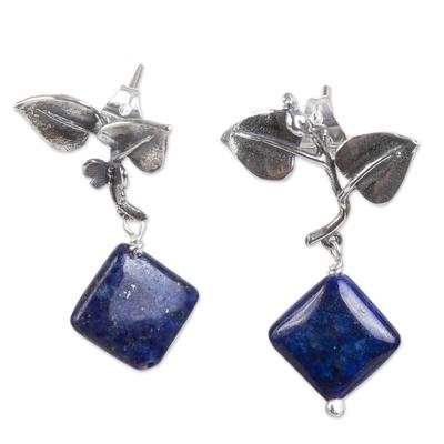 Leaf Motif Lapis Lazuli Dangle Earrings from Mexico