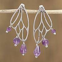 Amethyst dangle earrings, 'Grand Butterfly Wings' - Amethyst Butterfly Wing Dangle Earrings from Mexico