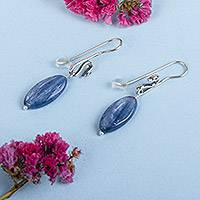 Kyanite dangle earrings, 'Swan Blue' - Kyanite Swan Dangle Earrings from Mexico