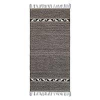 Wool area rug, 'Desert Grecas in Graphite' (2.5x5) - Geometric Wool Area Rug in Graphite from Mexico (2.5x5)